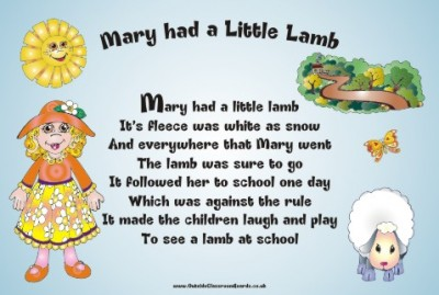 NURSERY RHYME - MARY HAD A LITTLE LAMB