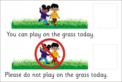 AREA SIGN - YOU CAN/CANNOT PLAY ON THE GRASS TODAY