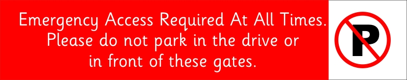 Emergency access required at all times. Please do not park in the drive or in front of these gates