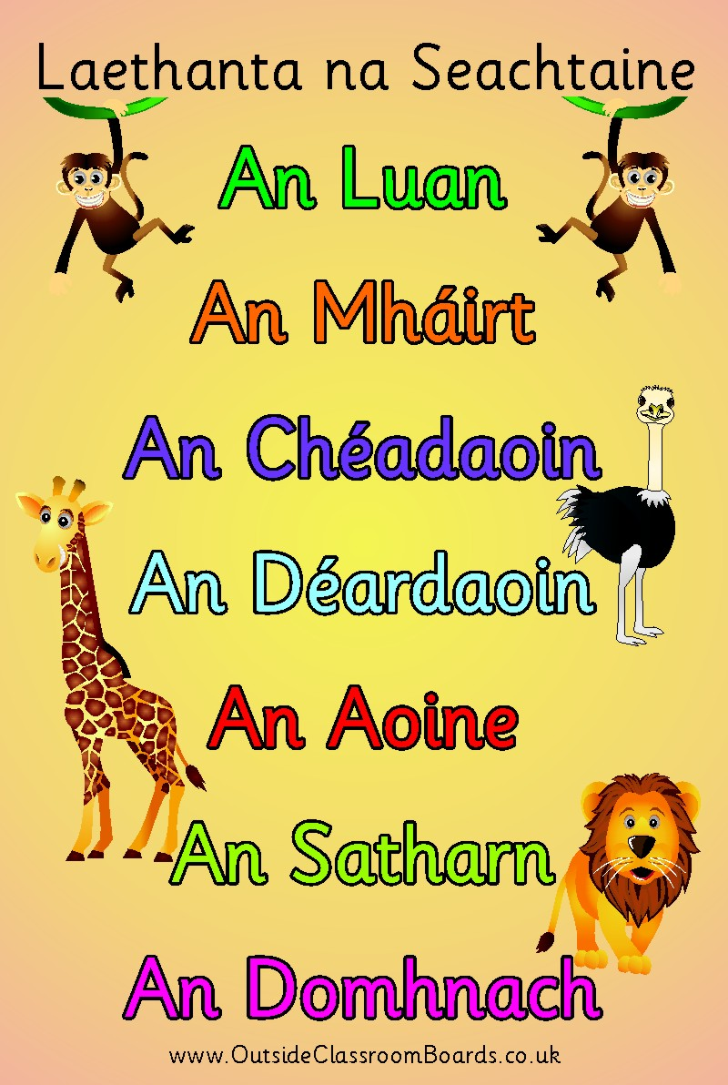 JUNGLE DAYS OF THE WEEK -IRISH GAELIC