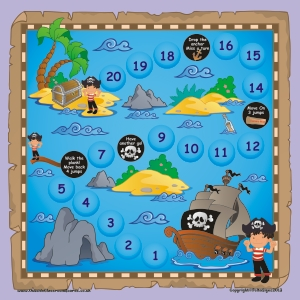 LARGE MAGNETIC PIRATE GAME BOARD & PIECES