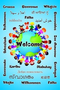 DISABILITY/MULTICULTURAL WELCOME BOARD GLOBE 22 LANGUAGES