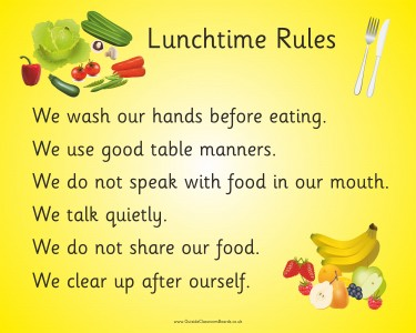 LUNCHTIME RULES (FRUIT & VEG)