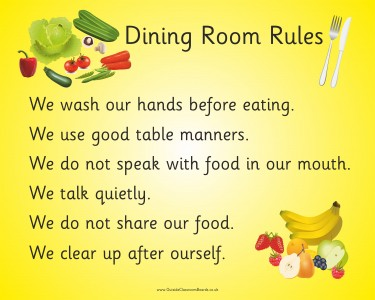DINING ROOM RULES FRUIT