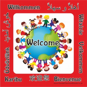DISABILTY/ MULTICULTURAL WELCOME BOARD - GLOBE (TO COMPLEMENT DIRECTIONAL SIGNAGE)