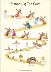 STATIONS OF THE CROSS PAPER POSTER