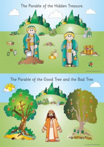 2 PARABLES - A2 PAPER POSTER - HIDDEN TRAESURE & GOOD TREE/BAD TREE