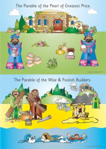 2 PARABLES - A2 PAPER POSTER -PEARL OF GREATEST PRICE & TWO BUILDERS