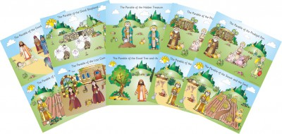 SET of 5 A2 PARABLE PAPER POSTERS ILLUSTRATING 10 PARABLES