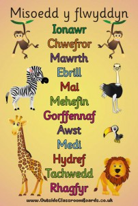 JUNGLE WELSH MONTHS OF THE YEAR POSTER BOARD