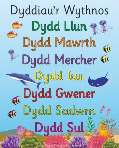 UNDER THE SEA WELSH DAYS OF THE WEEK POSTER BOARD