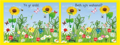 WELSH SPOT THE DIFFERENCE BOARD - IN THE GARDEN