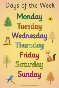 COUNTRYSIDE DAYS OF THE WEEK POSTER BOARD