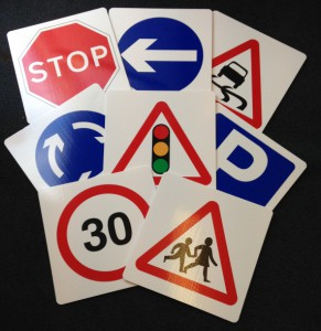 Weatherproof Polypropylene Plastic Road Signs - 8 pack