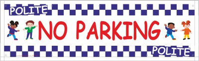 2m White No Parking Banner with eylets