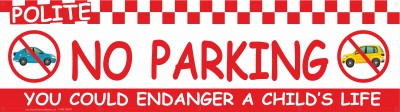 2m Red No Parking Banner with eylets