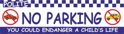2m Blue No Parking Banner with eylets