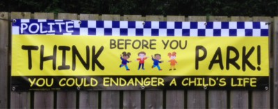 2m Think Before You Park Banner with eylets