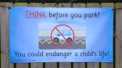 1.2m Think Before You Park Banner with eylets
