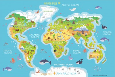 World Map - Simple with Animals