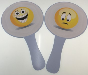 3507a Paddle Sign Emoji Happy / Sad
