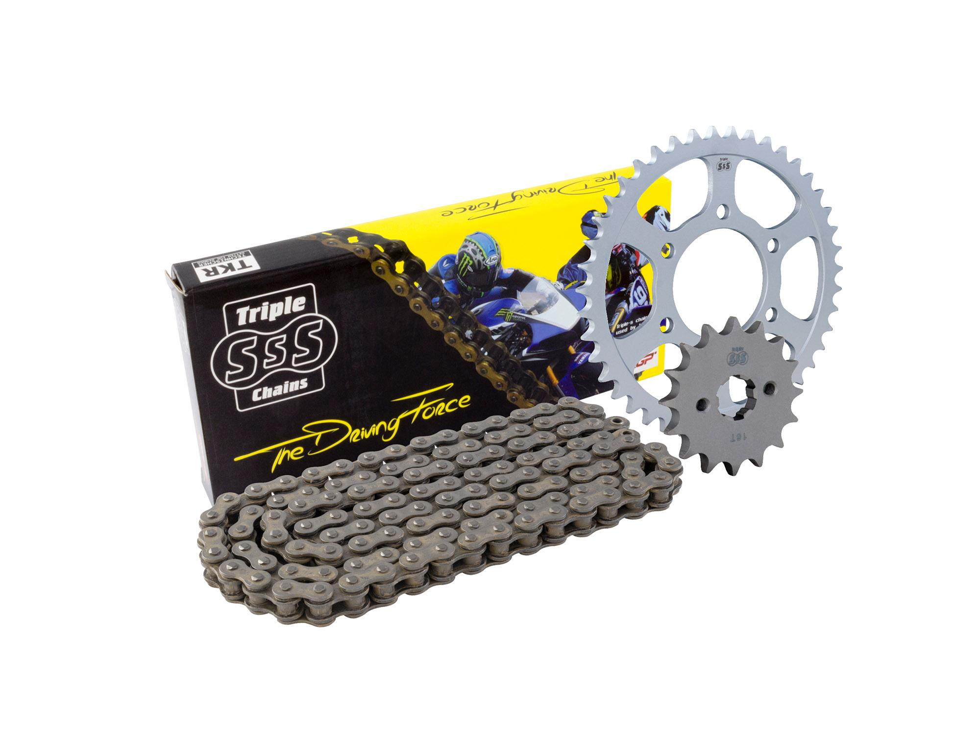 Kawasaki EX250R Ninja K8F-KAF 08-10 Chain & Sprocket Kit: 14T Front, 43T Rear, HD O-Ring Black Chain 520H 106Link