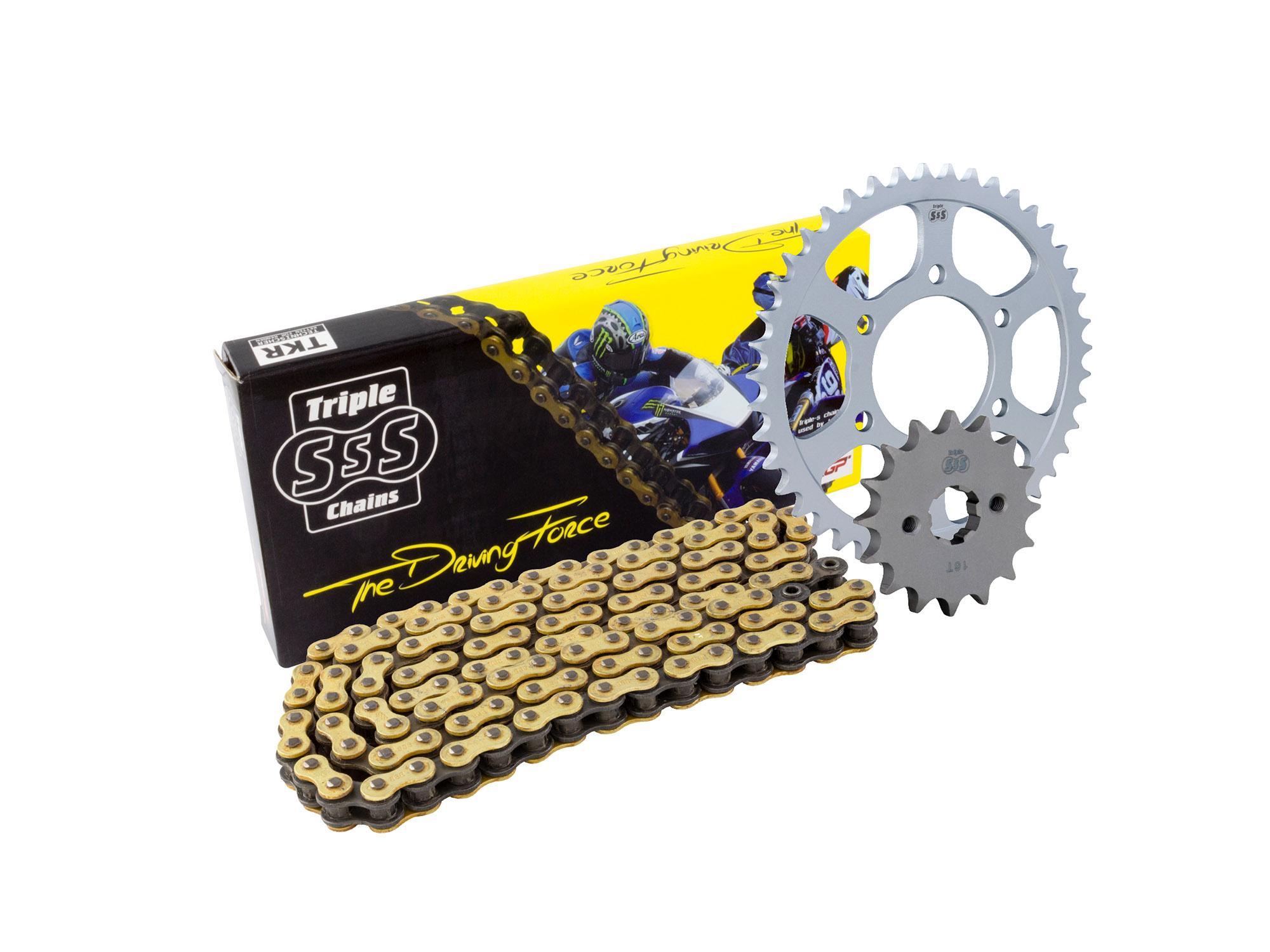 Triumph 600 Daytona 03-04, 650 Daytona 05 Chain & Sprocket Kit: 14T Front, 45T Rear, HD O-Ring Gold Chain 525H 108 Link