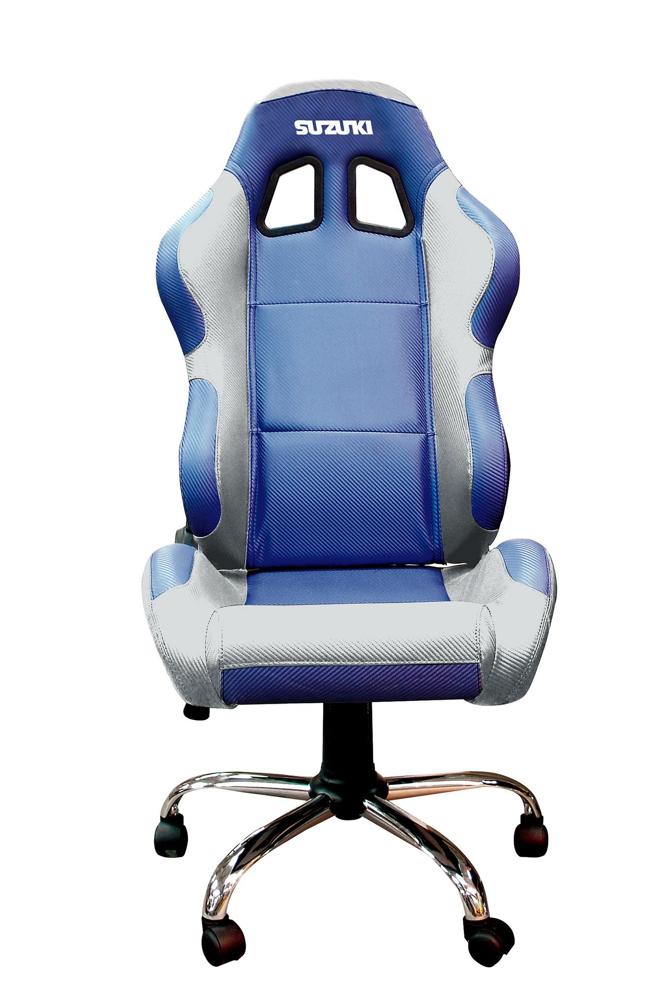 RIDER PADDOCK TEAM CHAIR - SUZUKI BLUE WITH SILVER TRIM