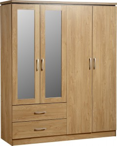 Charles 04s Charles 4 Door  2 Drawer Mirrored Wardrobe