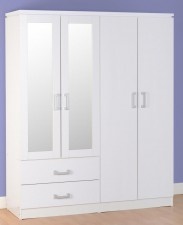Wardrobe 16s Charles 4 Door  2 Drawer Mirrored Wardrobe