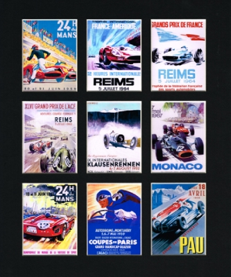 RET062 Retro race Multi Mounted Print