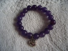 310100 925 sterling silver elasticated bracelet with genuine amethyst beads