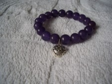 925 Sterling Silver Elasticated Bracelet With Genuine Amethyst Beads