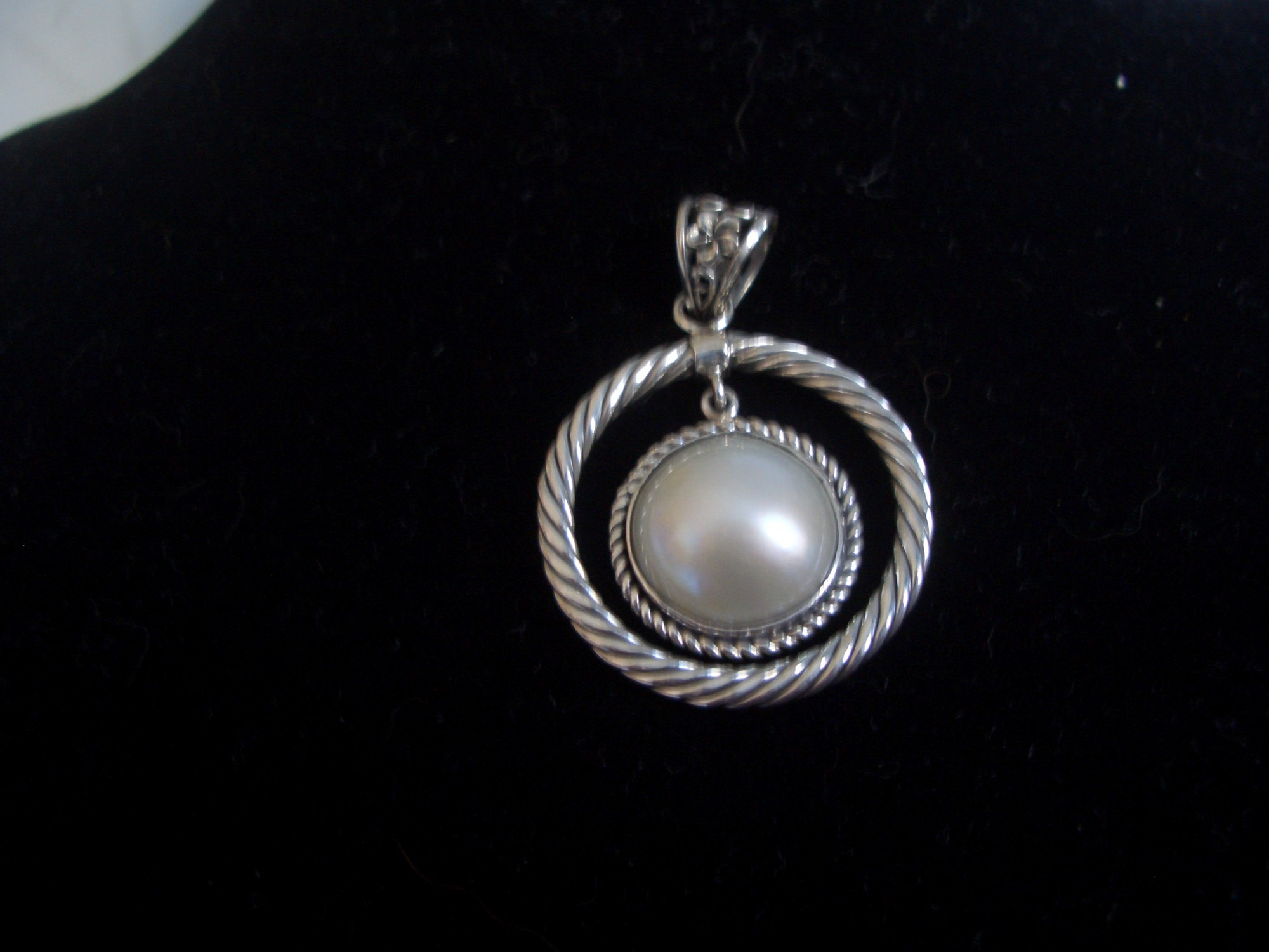 Sterling Silver Pendant From Bali With Pearl