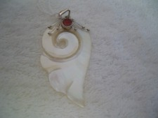 Sterling Silver Pendant From Bali Mother Of Pearl And Coral