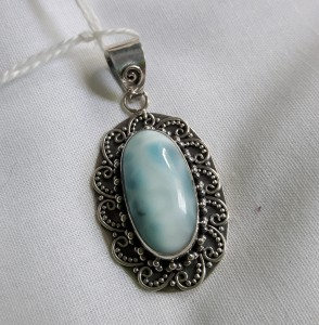 464 sterling silver pendant with larimar