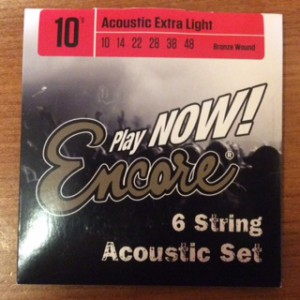 Encore acoustic Guitar strings, extra light 10's