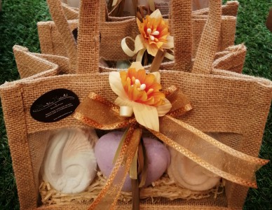 Jute Gift Bag with Soap or Bath Bombs