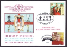 Bobby Moore - Double First Day Cover With Heroes Stamp And