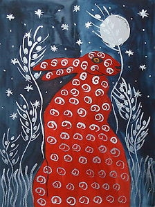 Quirky Red Hare at Night among the Barley