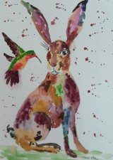 "Fridge Magnets Hare 4.25/"" x 5.5/"" professionally printed from original artwork"