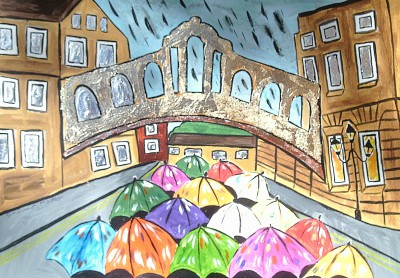 Bridge of Sighs in the Rain, Oxford University size A3