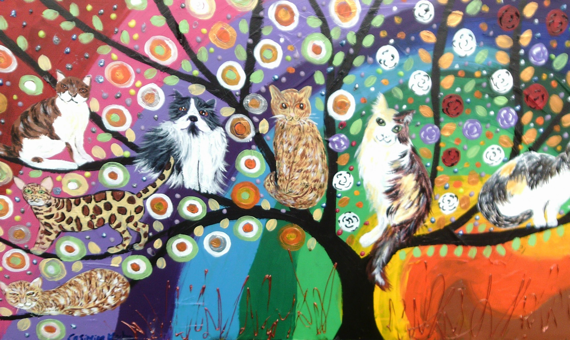 Colourful Tree of Life with Quirky Cats