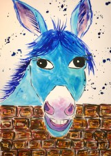 Quirky Blue Donkey