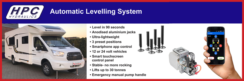 Auto self leveling for motorhomes
