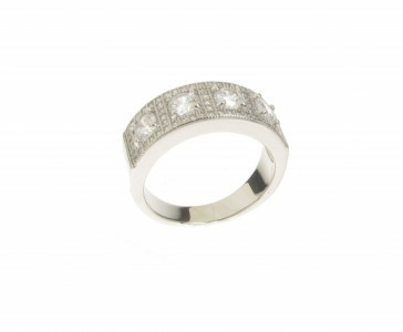Cavendish French 4 Square Cubic Zirconia Band Ring
