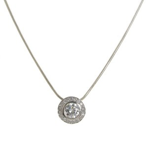 Cavendish French Cubic Zirconia Surround Solitaire Pendant and Chain