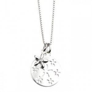 D for Diamond Round Pendant with Flowers
