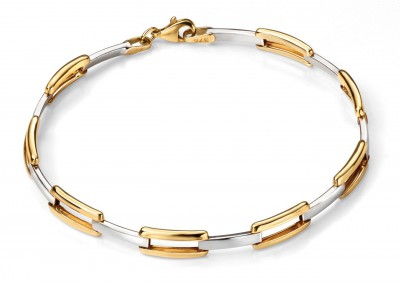 9ct Yellow Gold 2 Colour Open Bracelet