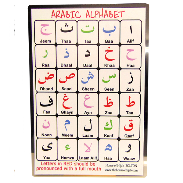 Laminated Arabic alphabet card
